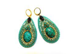 Boucles d'oreilles poires brodées Turquoise : Boucles d'oreille par la-p-tite-marquise