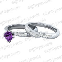 925 Sterling Silver Round Cut Amethyst & CZ Engagement Bridle Ring For Women's Wedding Engagement, Wedding Bands, Engagement Rings, Bypass Ring, Silver Rounds, Bridal Rings, Pear, Amethyst, Sterling Silver