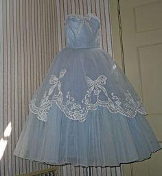 Vintage 50s Pale Blue Cinderella Strapless Dress by OpheliaVintage