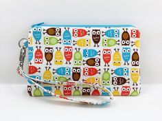 Owls Cell Phone Wristlet Zipper Pouch Small Clutch by ZestyNotion