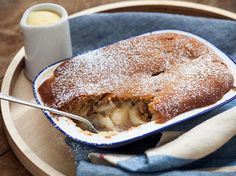 Sponge Pudding Recipe with Apple and Rhubarb - Serve warm custard with this delicious sponge pudding