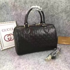 Gucci woman Boston hand bag gg signature leather bag