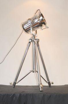 Photo of Chrome Spot Light Floor Lamp Tripod Spotlight