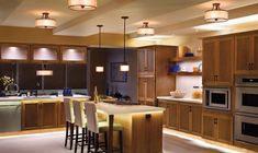Excellent Kitchen Design Idea with Incredible Pendant Lamps and Hidden Ceiling…