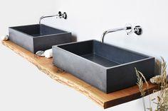 Countertop rectangular concrete washbasin BOX SINGLE by Gravelli design Tomáš Vacek Concrete Sink, Concrete Design, Washbasin Design, Shower Units, Sink Design, Iron Furniture, Buying A New Home, Plumbing Fixtures, Bathroom Furniture