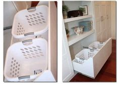 Stash your laundry hampers in extra deep drawers. | 42 Ingeniously Easy Ways To Hide The Ugly Stuff In Your Home