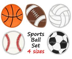 Sports Ball Set Applique Machine Embroidery by AppliquetionStation