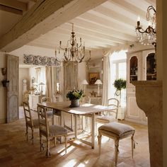 French Country Dining Room- Neutral packs a punch in this rustic beauty.