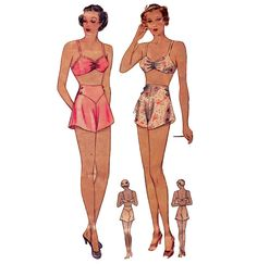1930s Panty & Brassiere - Pin-Up Style - Rare Vintage Sewing Pattern - Size 38 Bust, 32 Waist, 41 Hip - Simplicity 2288