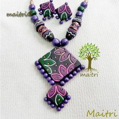 Terracotta Jewellery_Purple Printed GorgeousTerracotta  https://www.facebook.com/maitricrafts.maitri https://www.facebook.com/maitri.crafts maitri_crafts@yahoo.com