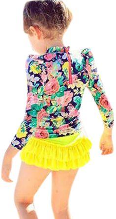 Amazon.com: Baby Girls Three Pieces Floral Sun Protection Swimsuit Bikini Set: Clothing