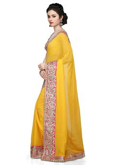 Buy Yellow Faux Georgette Saree with Blouse