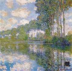 """Claude Monet excelled at painting light.  In """"Poplars at the Epte"""" the blue of the sky is reflected and included throughout the painting resulting in a very pleasant and fresh color combination."""