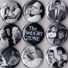 "This is a set of nine 1"" pinback buttons featuring characters from episodes from the Twilight Zone. Multiple sets available, just send me a message!"
