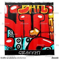 Graffiti 19 Labeled Shower Curtain