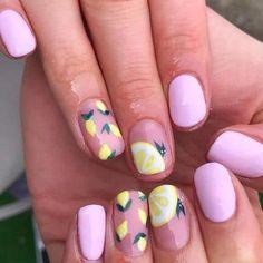 not your basic lemon nails Summer Gel Nails, Cute Gel Nails, Beach Nails, Get Nails, Summer Vacation Nails, Summer Holiday Nails, Fruit Nail Designs, Nail Art Designs, Bright Nail Designs