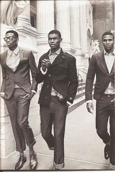 Young men from the 1960s, suits, glasses