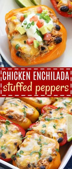 mexican recipes with chicken Chicken Enchilada Stuffed Peppers - a delicious, low carb dinner that is full of the Mexican flavors you love! Once you try this healthy twist, Low Carb Chicken Recipes, Healthy Low Carb Recipes, Gourmet Recipes, Cooking Recipes, Recipes Dinner, Dinner Ideas, Freezer Recipes, Freezer Cooking, Cooking School