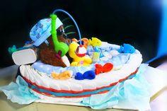 Diaper cake fishing boat Boat Diaper Cake, Boat Cake, Diaper Cakes, Nappy Cake, Baby Shower Diapers, Baby Boy Shower, Baby Showers, Baby Shower Presents, Baby Shower Gifts