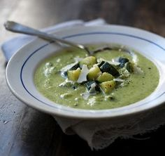 This is the best recipe for a glut of courgettes, hands-down. The creamy soup covers tender, diced pieces of courgette that add a contrasting texture.
