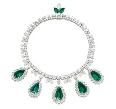 AN EXCEPTIONAL EMERALD AND DIAMOND NECKLACE, BY HARRY WINSTON – Christie's    Designed as a line of graduated brilliant-cut diamonds, with twin pear-shaped diamond detail, suspending five detachable pear-shaped emerald and diamond pendants, to the marquise-shaped diamond and pear-shaped emerald pendant clasp, mounted in platinum