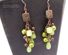 Vintage Brass Copper and Green Long Dangle Earrings by VickiODell, $16.00