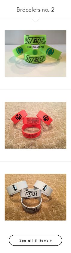 """""""Bracelets no. 2"""" by notanarwhal2 ❤ liked on Polyvore featuring jewelry, bracelets, 5sos, band merch, accessories, rubber bracelets, pierce the veil, initial jewelry, cut out jewelry and red bangles"""