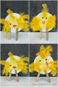 Adorable Easter Chicks Easter Chicks ~ simple bird crafts for pres. - Adorable Easter Chicks Easter Chicks ~ simple bird crafts for preschoolers - Summer Crafts For Toddlers, Easter Crafts For Kids, Toddler Art, Toddler Crafts, Easter Activities, Craft Activities, Spring Crafts, Holiday Crafts, Preschool Crafts