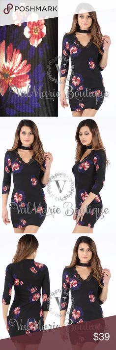 """STUNNING light rubbed floral bodycon dress 🇺🇸MADE IN USA- •96% RAYON 4% SPANDEX - this floral dress features a ribbed design that's lightweight enough to wear during a summer night out! Has gorgeous lace embellished vneck like and a neck wrap that can be tucked into the back of you don't want it shown. Apprx length is 36"""" small, 36.5"""" med and 37"""" large. Stretches. Fits fitted but not uncomfortable. S(2-4) M(6-8) L(10-12) bust: S(32.5"""") M(34.5"""") L(38"""") - these are unstretched measurements…"""
