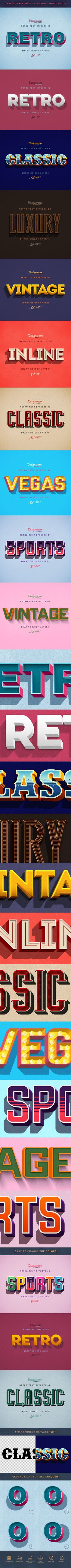 Retro Text Effects Photoshop Actions