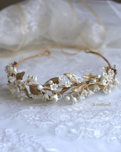 Bridal headpiece / Bridal crown / Bridal by LenaRomHeadpieces Bridal Headdress, Headpiece Wedding, Bridal Headpieces, Bridal Hair Vine, Bridal Crown, Clay Flowers, Silk Flowers, Hand Flowers, Lily Of Valley