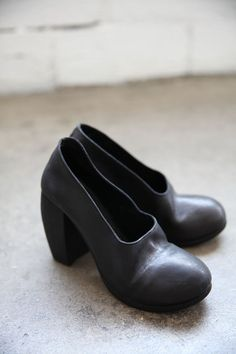 Black Leather Shoes with Shaped Heel by Nutsa Modebadze, available at www.cendre.ca