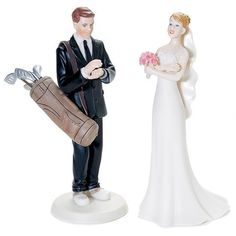 Golfing may be his life but how far will he go? This light-hearted Golf Fanatic Groom takes a fun jab at his hobby. Co-ordinated here with our Exasperated Bride. Or, select any other Mix and Match Cak