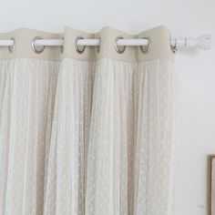Dotted Lace Overlay Thermal Insulated Blackout Grommet Top Curtain Panel Pair - Overstock™ Shopping - Great Deals on Curtains Home Curtains, Grommet Curtains, Blackout Curtains, Window Curtains, Curtain Panels, Sheer Curtains, Miller Homes, Thing 1, Thermal Curtains