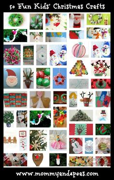 50 Fun Kids' Christmas Crafts  Favorites:  Paperbag Reindeer, Handprint Rudolph, Cottonball Santa