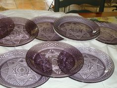 EIGHT Magnificent AMETHYST French Crystal Pressed GLASS Dinner Plates - Cris D ' Arques/Durand - Treasury Item
