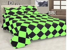 16'' 6 Pc Egyp.Cotton Parrort Green & Black Diamond Style Duvet Cover Set Twin