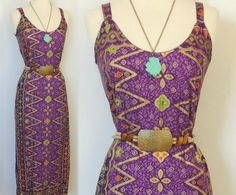 Vintage Ethnic Goddess Maxi Dress with Gold Tones by BoWinston, $35.00