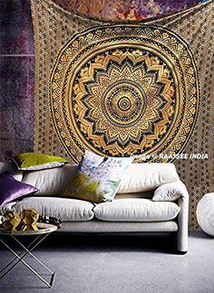 Original Glittering Shiny Ombre Indian Tapestry Mandala W...