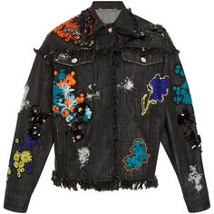 Versace Embellished Denim Jacket ($4,795) ❤ liked on Polyvore featuring outerwear, jackets, coats, multi, flower print jacket, embellished jean jacket, floral jean jackets, jonathan simkhai and embellished denim jacket