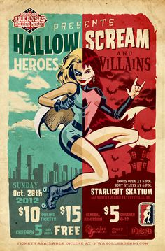 NWA Roller Derby. This would be such a fun idea for a halloween bout or scrim!