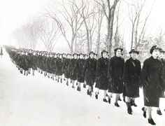 We marched everywhere, even in the snow.  To classes, to church, to the mess hall.