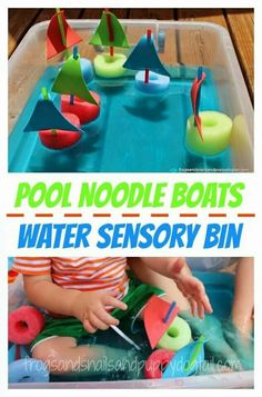 Pool noodles used to make boats
