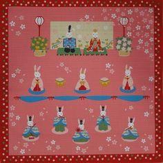 'Girls' Day Rabbit Hina Matsuri Doll' Furoshiki Cotton Japanese Fabric 50cm