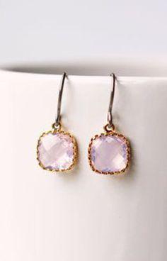 Violet Opal Glass Titanium Earrings Pastel