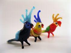 Blown Glass Parrot Miniature, Sculpture, Figurine, Flamework