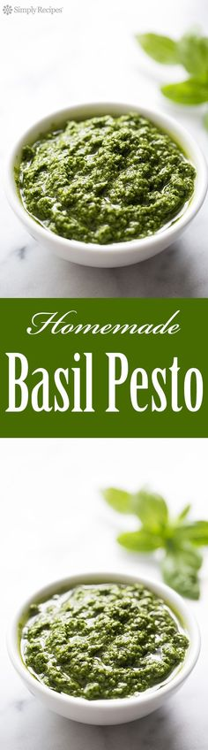 Make your own homemade pesto. It's easy! Great for adding to pasta, chicken, even toast. With fresh basil leaves, pine nuts, garlic, Romano or Parmesan cheese, and olive oil. On http://SimplyRecipes.com