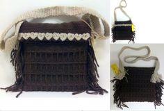 Morral marrón/beige, detalle corazones. Handmade bag. Handwoven. Hecho a mano. Sac à main.