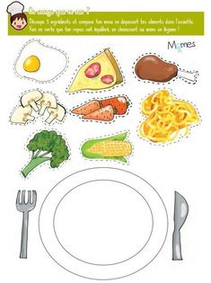 """Balanced plate game """"I am so bored! Dinner Recipes For Kids, Healthy Dinner Recipes, Nutrition Activities, Food Pyramid, Food Themes, Food Crafts, Preschool Worksheets, Dental Health, Healthy Chicken Recipes"""
