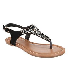 Another great find on #zulily! Black Rhinestone Orchid Sandal #zulilyfinds